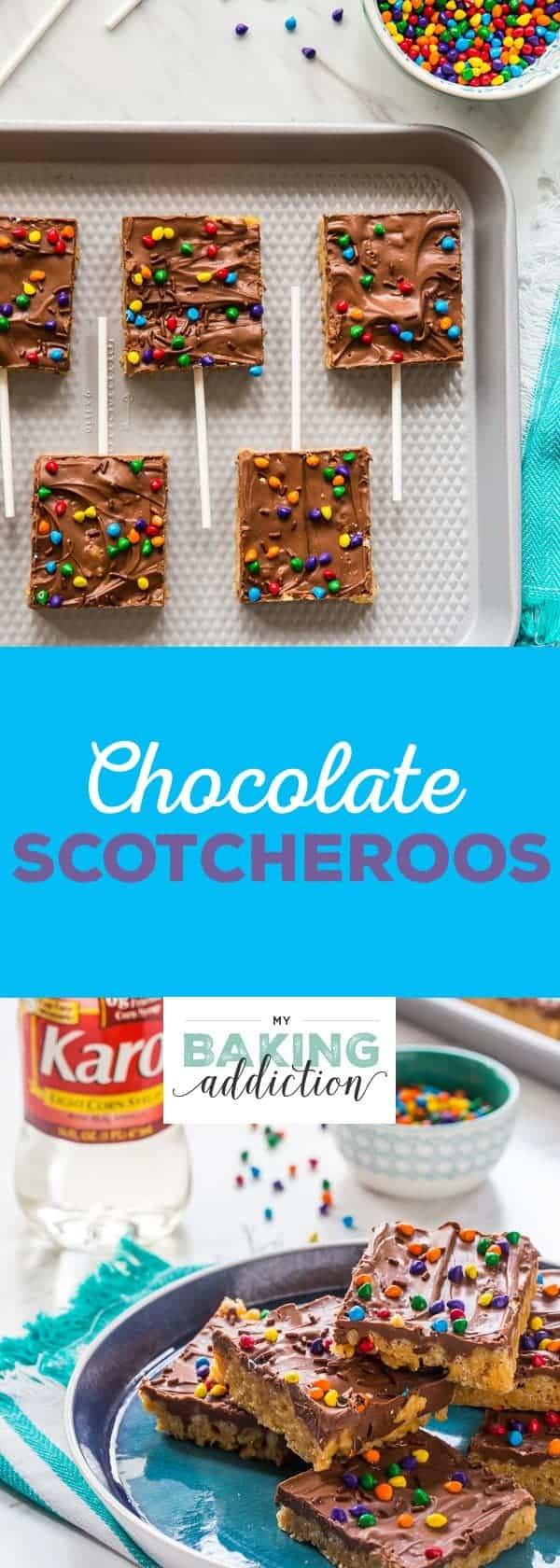 Chocolate Scotcheroos combine peanut butter, crispy rice cereal, and chocolate into one delicious treat. A perfect recipe to make with your kiddos! So fun!
