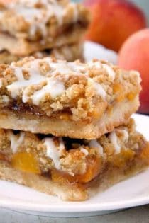 Peach Crumb Bars are topped with a sweet brown sugar crumble. Nothing could be better!