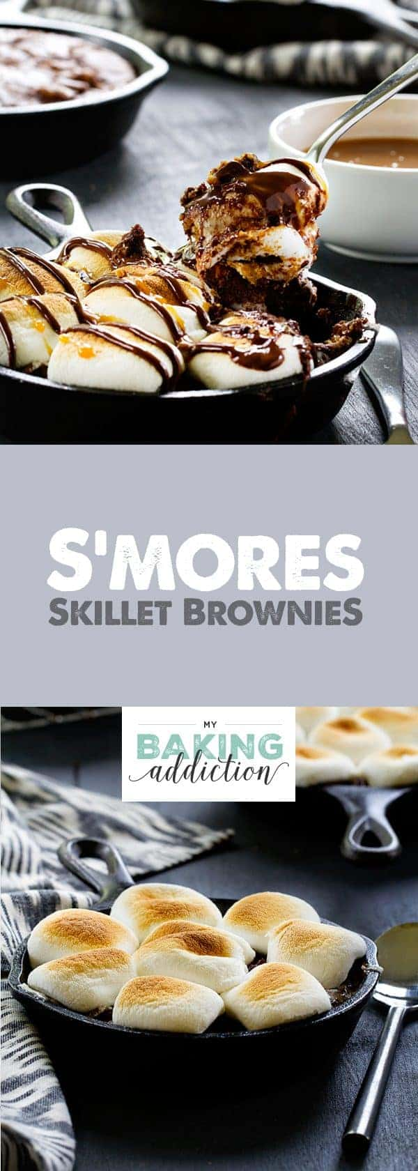 S'mores Skillet Brownies have a graham cracker crust topped with a layer of fudgy brownies and perfectly roasted marshmallows. What's not to love?