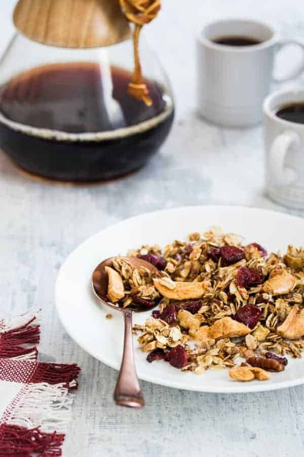 Apple Cinnamon Granola is brimming with the delicious flavors of fall. Serve it up parfait-style with yogurt and fresh apples, or munch on it by the handful.