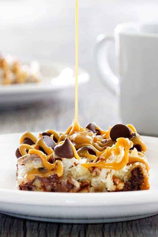 112959cdb4bf Coconut Caramel Pecan Cookie Bars are a quick and easy treat thanks to  refrigerated cookie dough