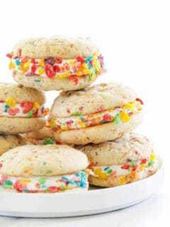 Fruity Pebbles Whoopie Pies are a fun spin on a classic dessert! So much fun!