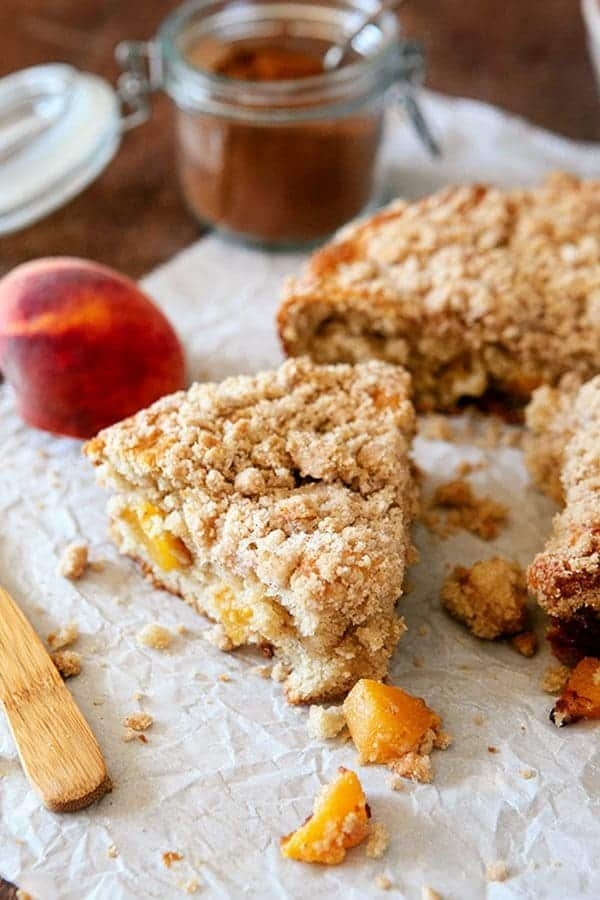 This Fresh Peach Coffee Cake is the perfect way to show off the season's juiciest peaches. Pair it with your morning coffee or save it for dessert!