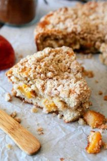 This Fresh Peach Coffee Cake is the perfect way to show off the season's juiciest peaches. It will pair perfectly with your morning coffee!