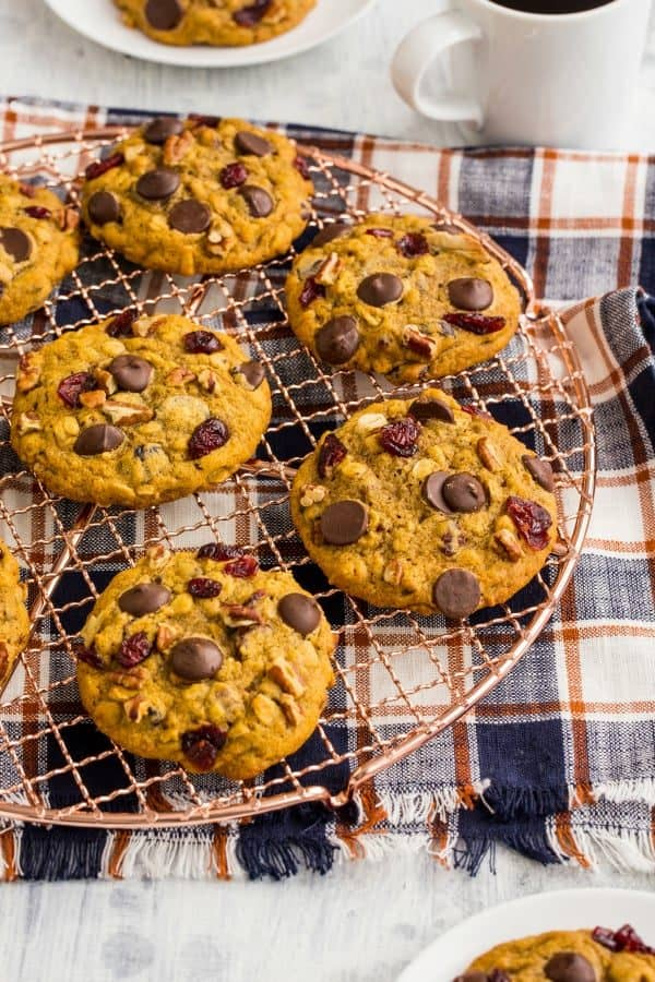Pumpkin Dark Chocolate Cranberry Cookies would be a perfect treat with a cup of coffee. Savor the season!