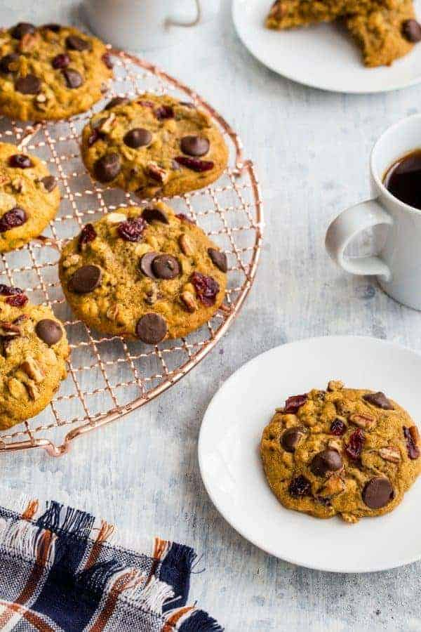 Pumpkin Dark Chocolate Cranberry Cookies will be your favorite cookie of the holiday season. Each bite is full of sweetness and spice!