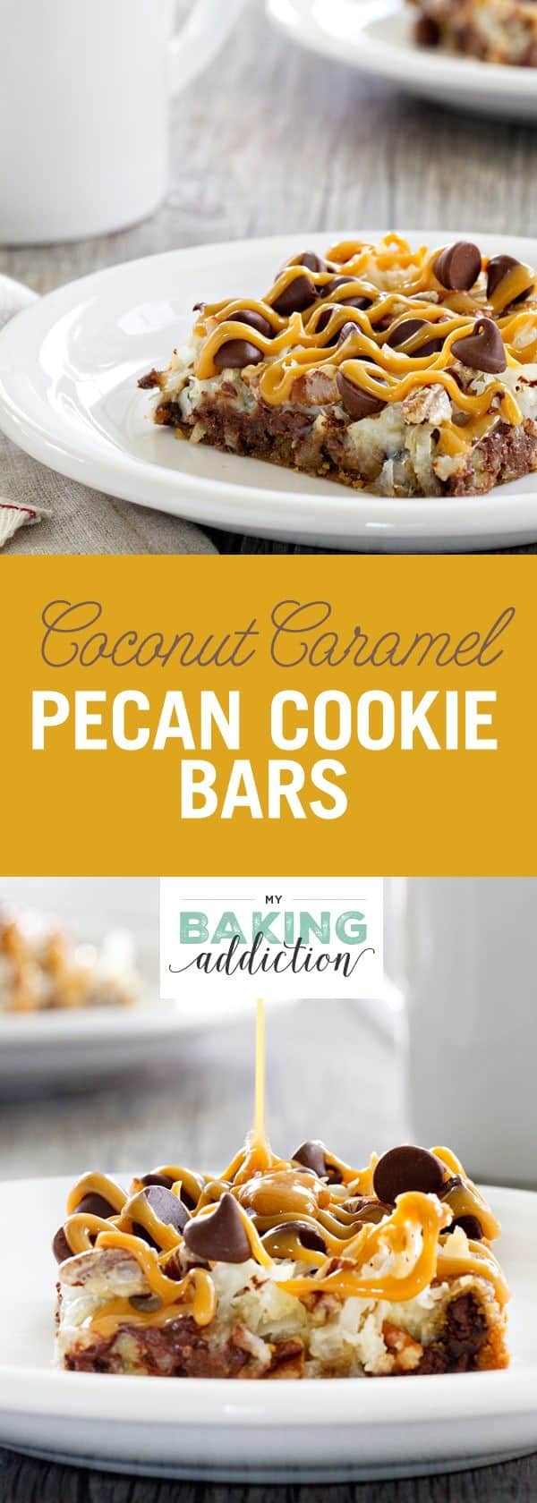 Coconut Caramel Pecan Cookie Bars are a quick and easy treat thanks to refrigerated cookie dough. Crunchy pecans, shredded coconut and gooey caramel make them incredible!