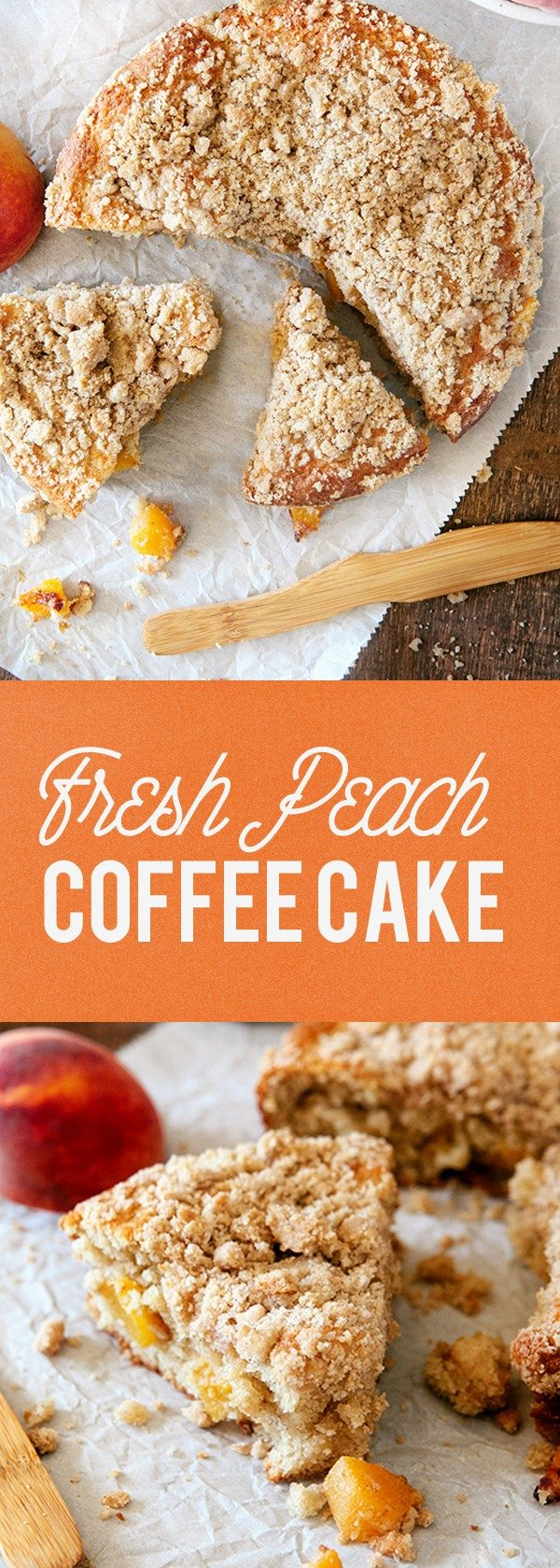 This Fresh Peach Coffee Cake is the perfect way to show off the season's juiciest peaches. The perfect companion to your afternoon tea!