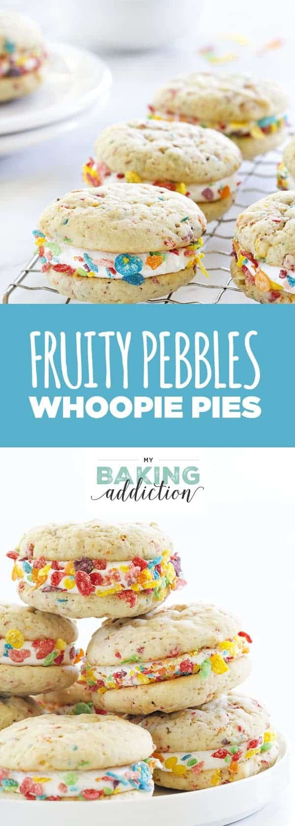 Fruity Pebbles Whoopie Pies are a delicious and fun spin on a classic dessert. The marshmallow buttercream is incredible!