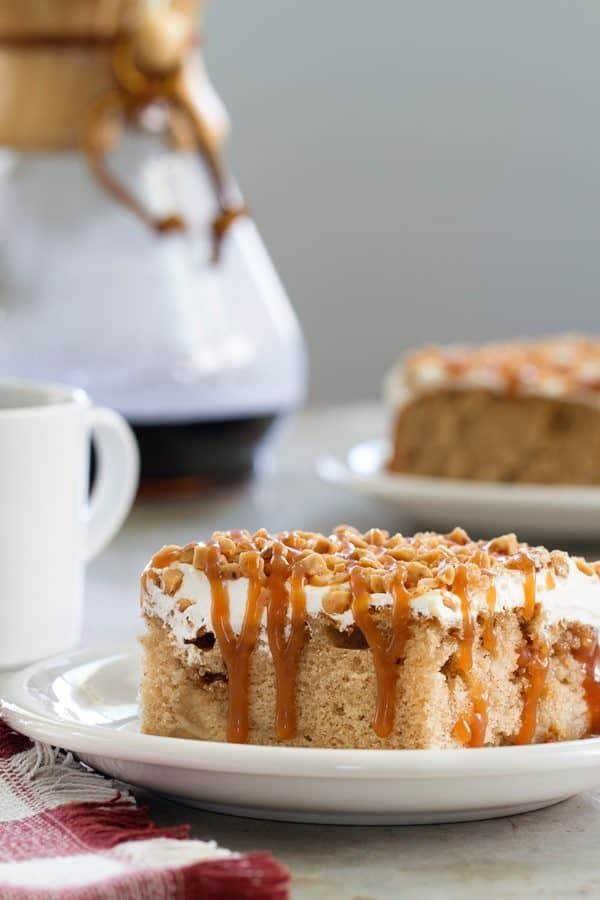 Caramel Apple Poke Cake uses canned apple pie filling. So easy!