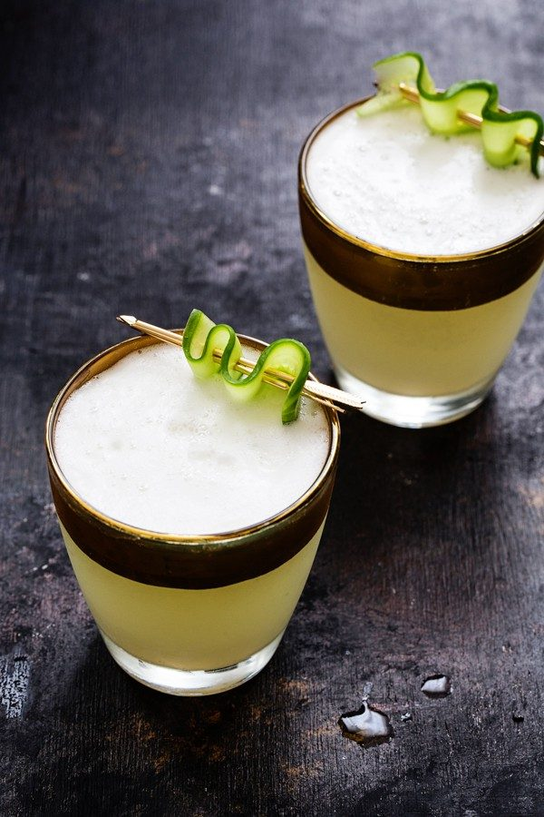 Cucumber Gin Fizz has a cool, bright flavor. A great cocktail to enjoy after a hectic day at work.