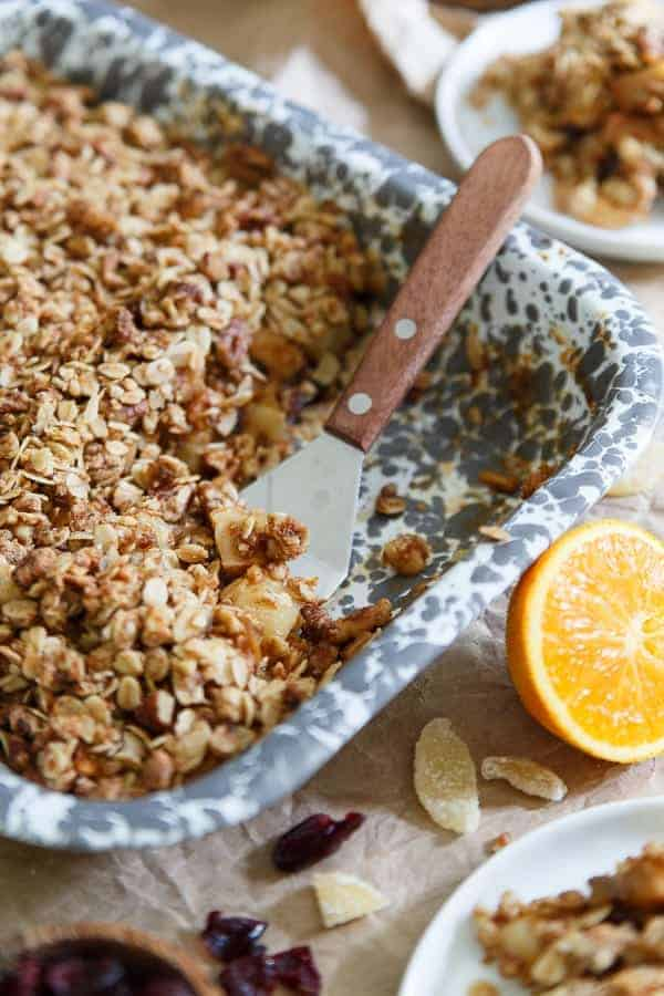 This orange ginger pear and quince crisp will make your whole house smell like the perfect fall candle while it's baking. It's a simple seasonal treat everyone will love and perfect with a scoop of vanilla ice cream on top!