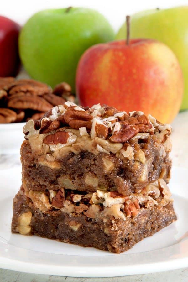 Caramel apple blondies are topped with an easy caramel frosting and pecans to create the perfect fall treat. Recipe contains a gluten-free option.