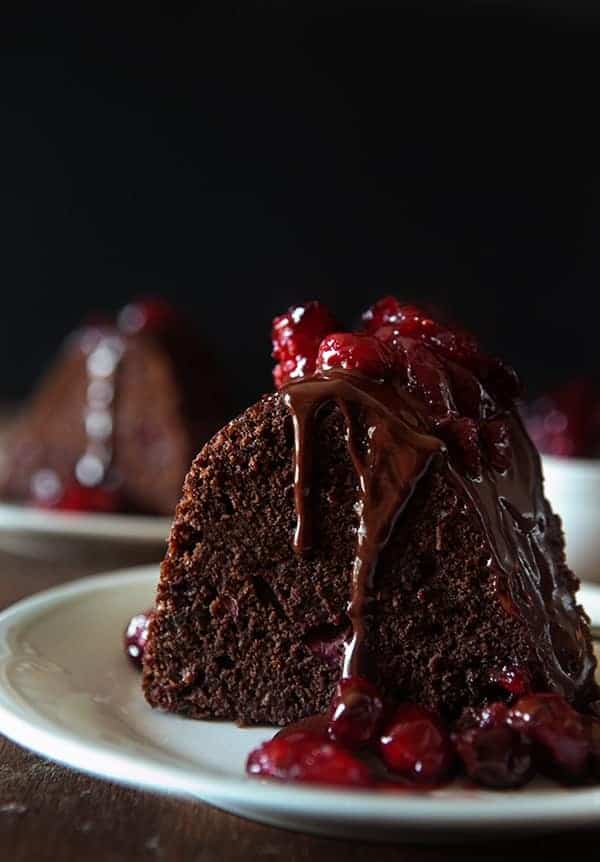 Dark Chocolate Cranberry Bundt Cake has a dark sweetness you'll love. The tartness of the cranberries complete this cake in an amazing way.