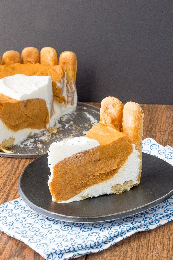 Pumpkin charlotte is a delicious, creamy, no-bake dessert that is perfect for holiday entertaining.