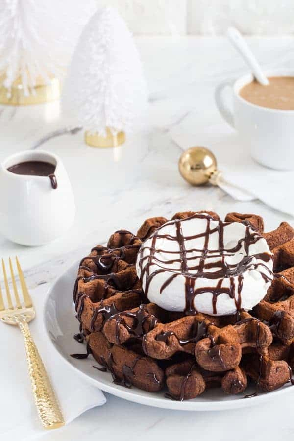 Chocolate Eggnog Waffles are a warm and cozy way to welcome the holiday season. Don't forget the whipped cream!