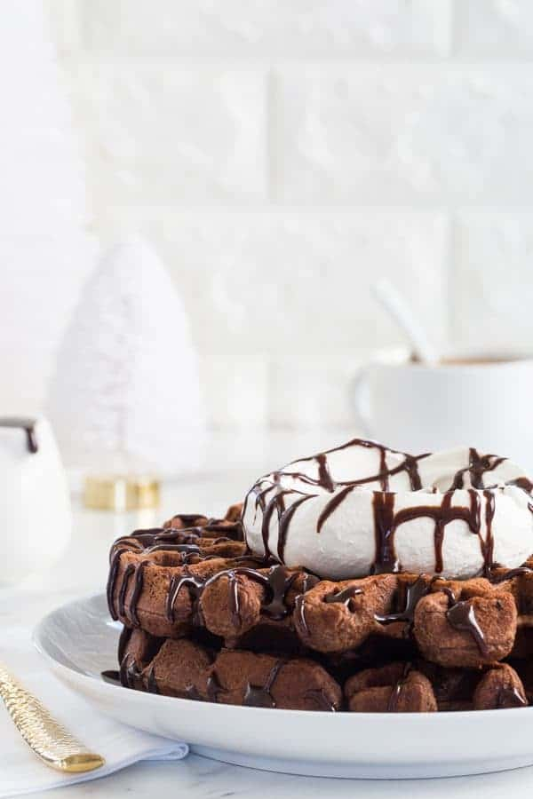 Chocolate Eggnog Waffles are a warm and cozy way to welcome the holiday season. The whipped cream and chocolate sauce make them extra special!