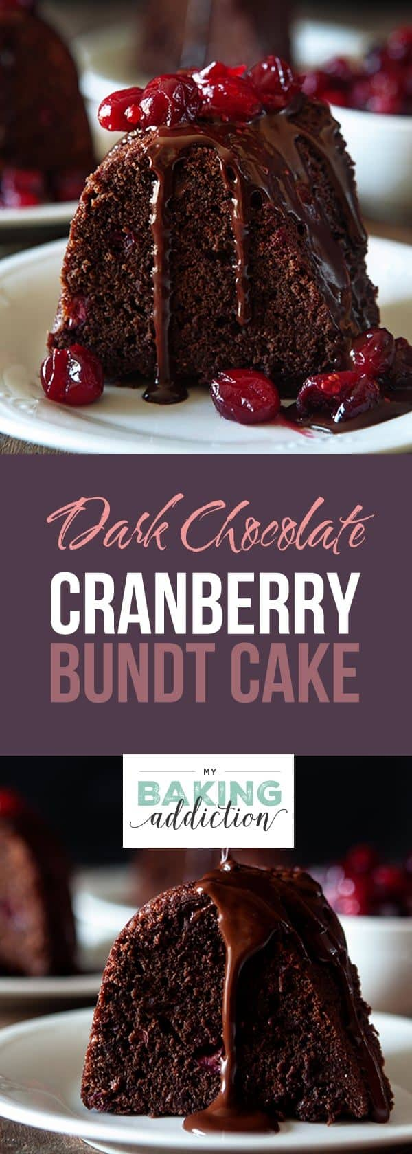 Dark Chocolate Cranberry Bundt Cake is the perfect combination of rich chocolate and tart juicy cranberries in a tender, buttery cake. Perfect for the holiday season!