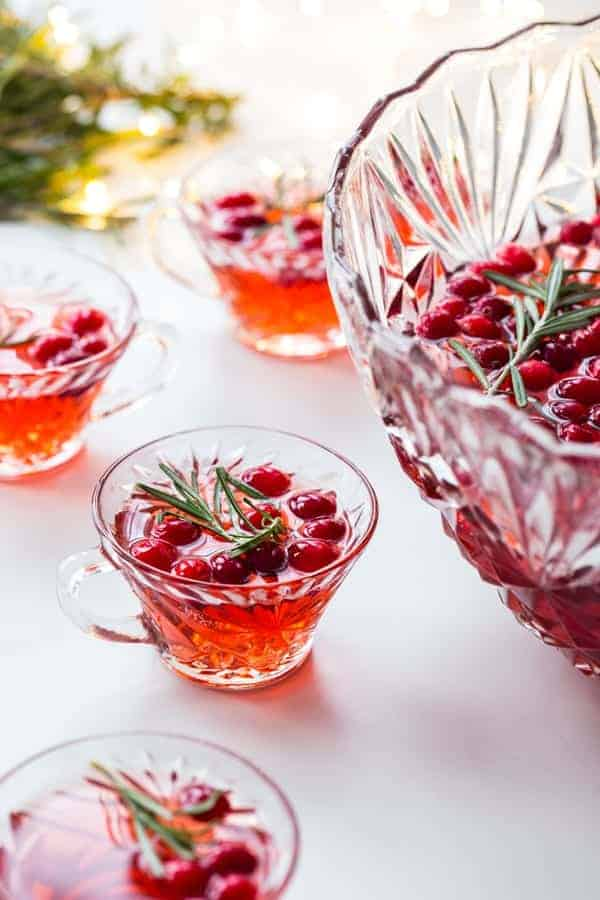 Sparkling Cranberry Rosemary Punch will elevate your holiday party to something truly special. So festive!