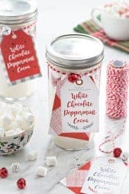 White Chocolate Peppermint Cocoa is for enjoying by the fire, or gifting to your favorite people. The perfect last minute gift!