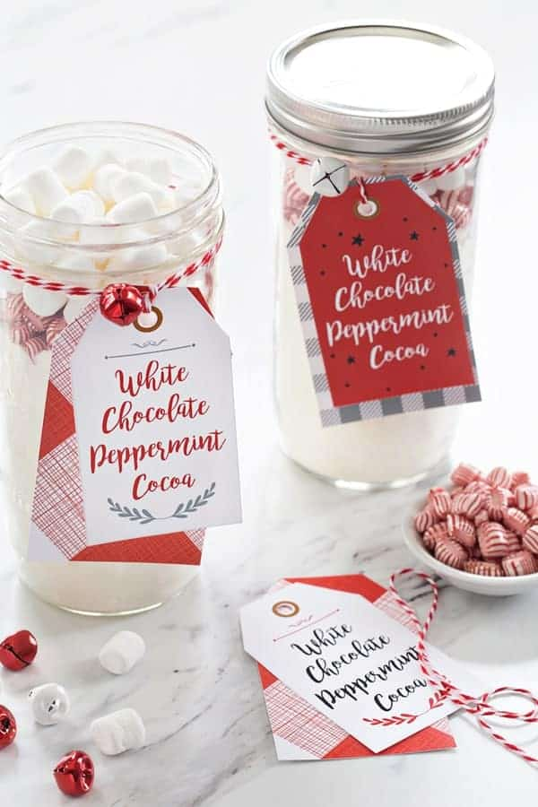 White Chocolate Peppermint Cocoa is for enjoying by the fire, or gifting to your favorite people. I've even got downloadable tags for last minute gifts!