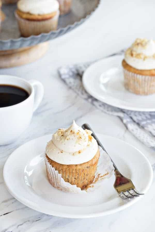 Banana Cupcakes with Cream Cheese Frosting are great for a birthday celebration or dessert. Perfect for using up all your ripe bananas!