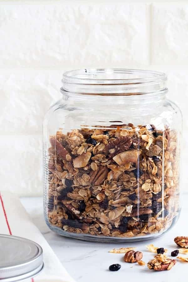 Coconut Pecan Granola is lightly sweetened and loaded with delicious flavor. It's perfect for a  snack, as cereal, or layered in a yogurt parfait.