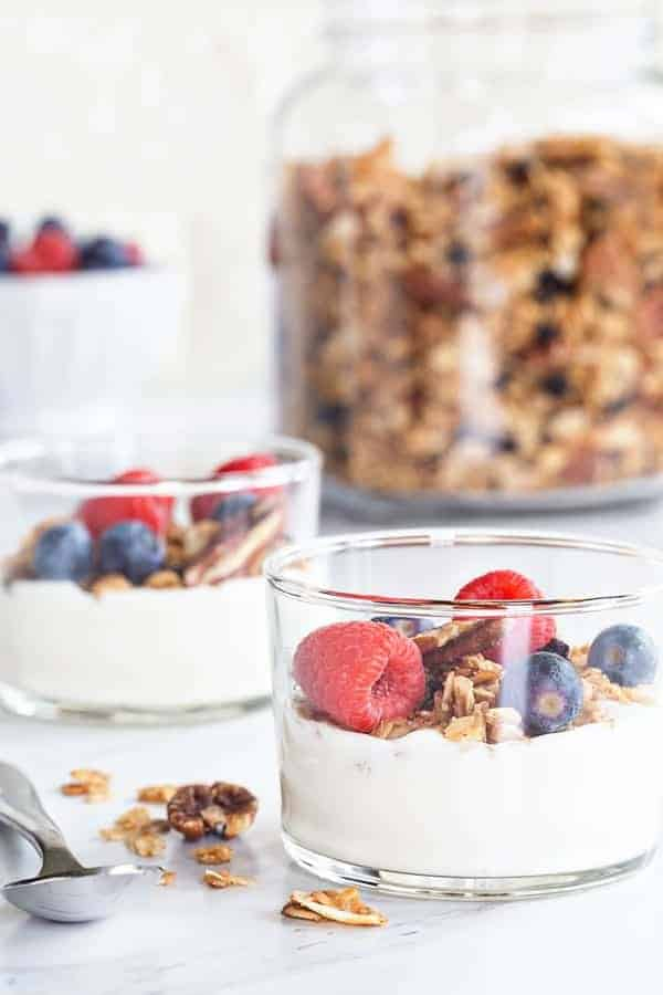 Coconut Pecan Granola is lightly sweetened and loaded with delicious flavor. Serve it up as a snack, as cereal, or as a parfait.