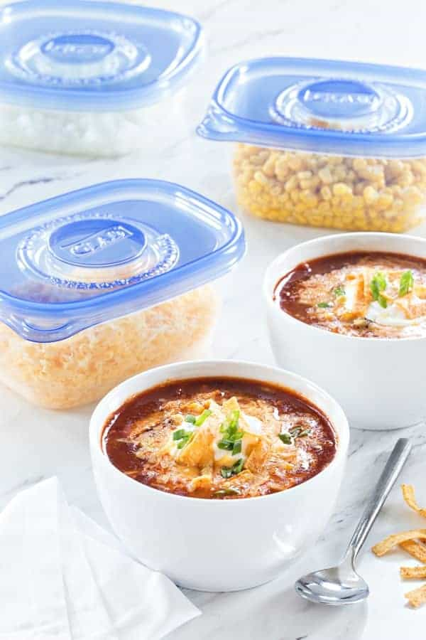 Slow Cooker Taco Soup uses up all your fresh and frozen veggies for a hearty, cozy dinner. Easy and delicious!