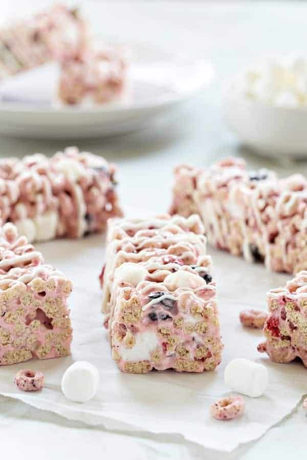 Berry Cereal Treats are everything you love about marshmallow cereal treats, but with a berry twist.  Easy and so delicious!