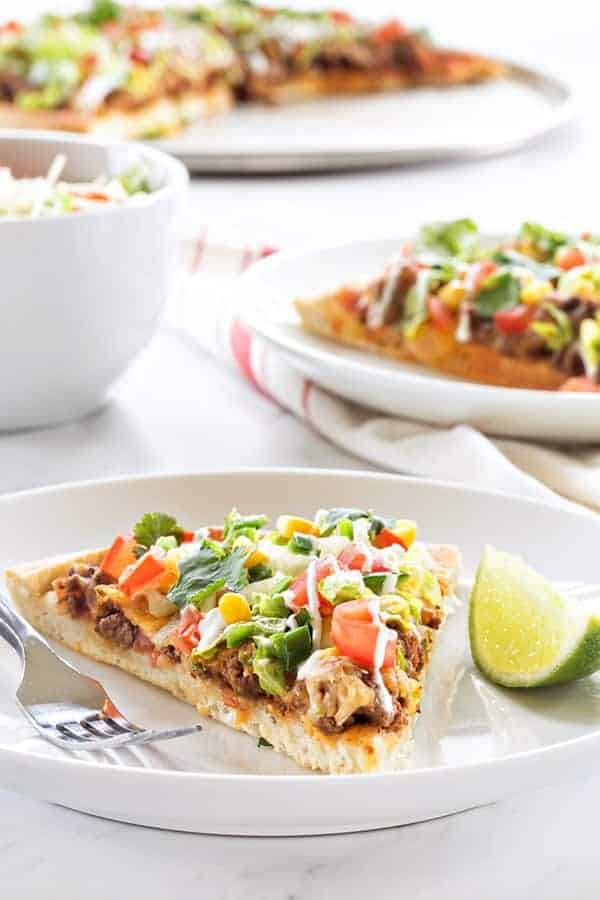 Taco Pizza Pie will make everyone at the table happy. A great combination of two favorites!