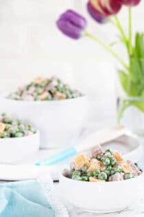 Amish Ham & Pea Salad comes together in a snap and is the perfect way to use leftover ham! So delish!