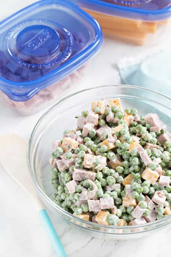 Amish Ham & Pea Salad is simple, delicious and the perfect way to use up leftover holiday ham! So good!
