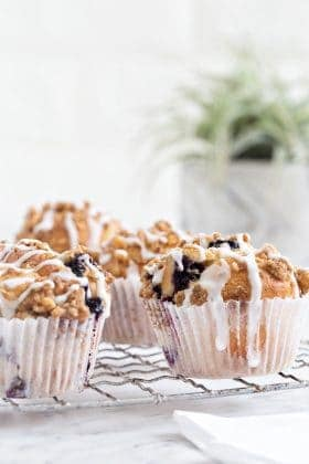 Blueberry Walnut Muffins rise high and mighty, making them a site to behold. This is the perfect recipe to serve for Mother's Day brunch!