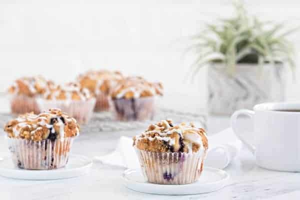 Blueberry Walnut Muffins rise high and mighty to create a perfect grab and go breakfast for busy mornings!