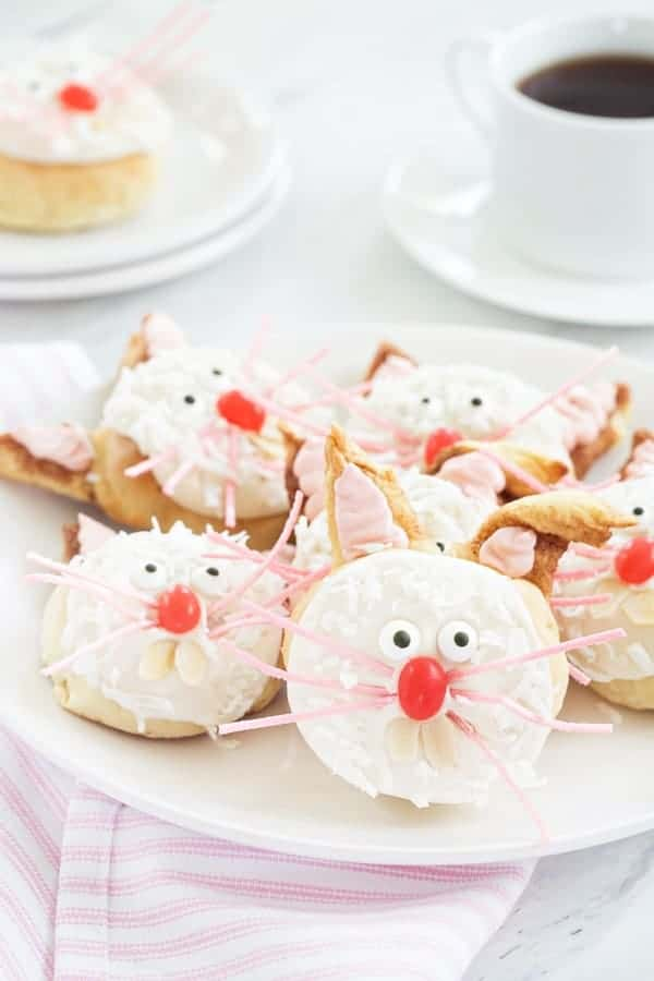 Basic cinnamon roll dough is transformed into adorable bunnies perfect for Easter brunch!