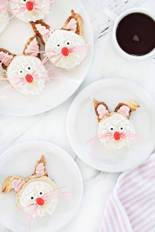 Homemade cinnamon roll dough is transformed into sweet bunnies perfect for Easter brunch! So adorable!