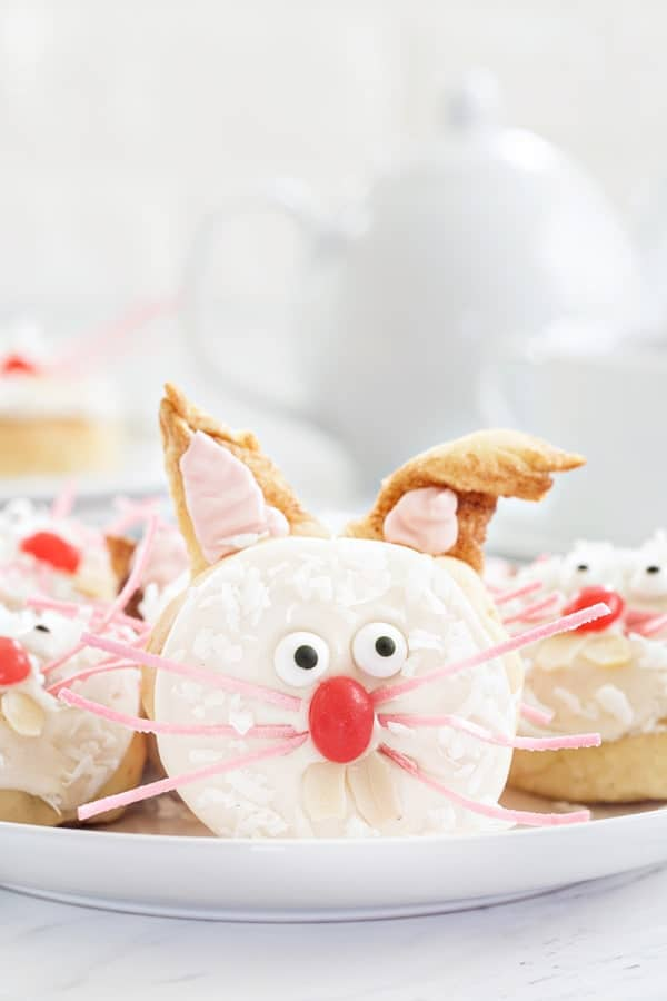 Cinnamon roll dough is transformed into adorable bunnies perfect for Easter brunch! So fun!