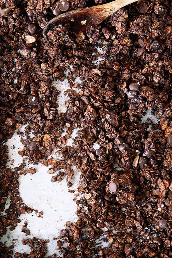 Salted Dark Chocolate Granola is a deliciously crunchy topping for yogurt, ice cream and just a mid-morning snack!