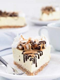 Samoa Cheesecake starts with a coconut shortbread crust and is topped with whipped cream, toasted coconut, melted chocolate and gooey caramel. So delicious!