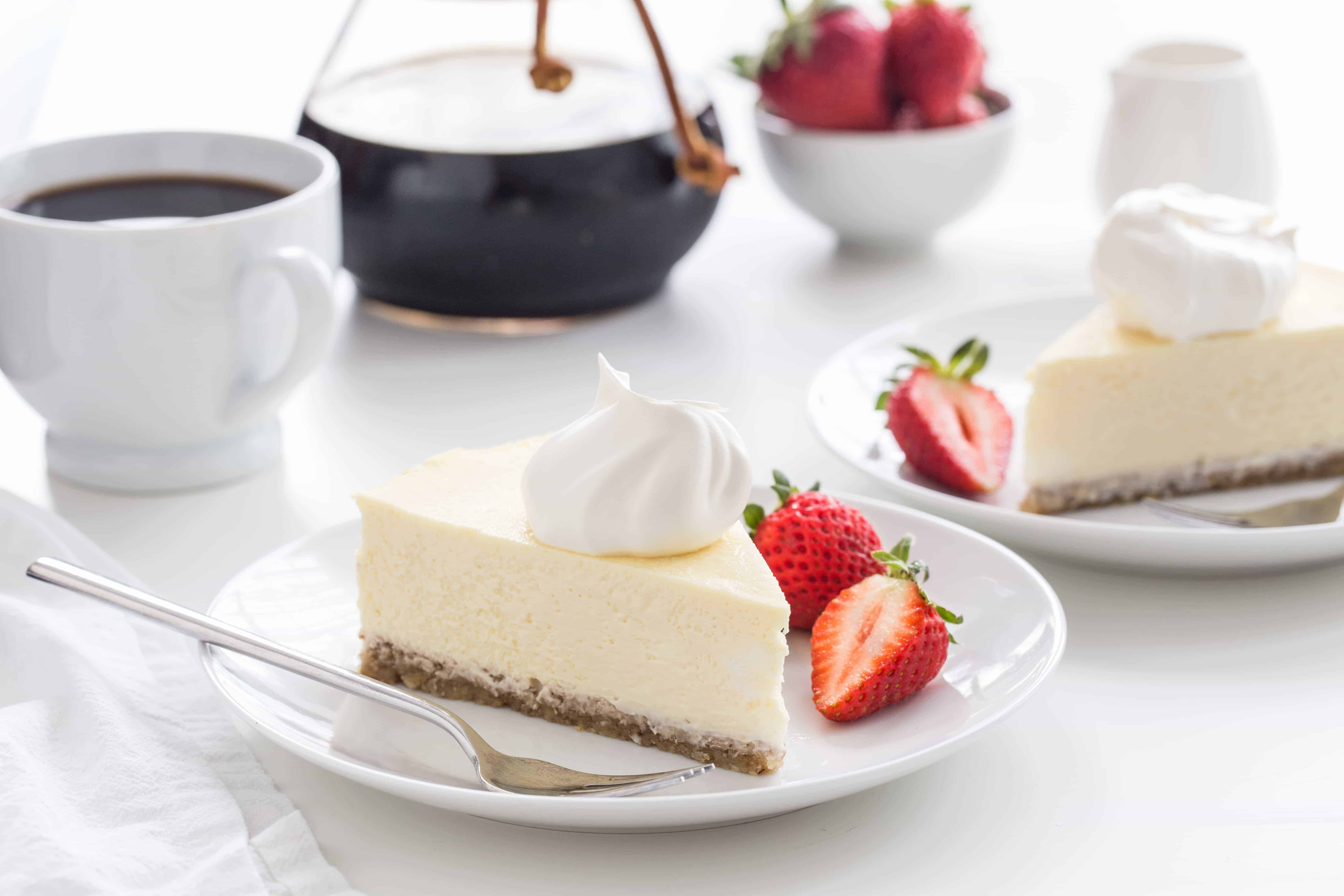Low Carb Cheesecake is perfectly creamy and delicious without added sugar. The walnut crust makes it extra special.