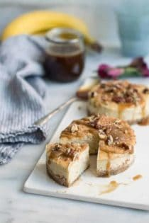 Salted Caramel Banana Cheesecake is a delicious combination of sweet and salty flavors. Perfect for cheesecake lovers.