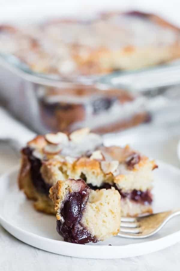 Cherry fritter cake is packed full of summer flavor. It's perfect for pool parties and barbecues!