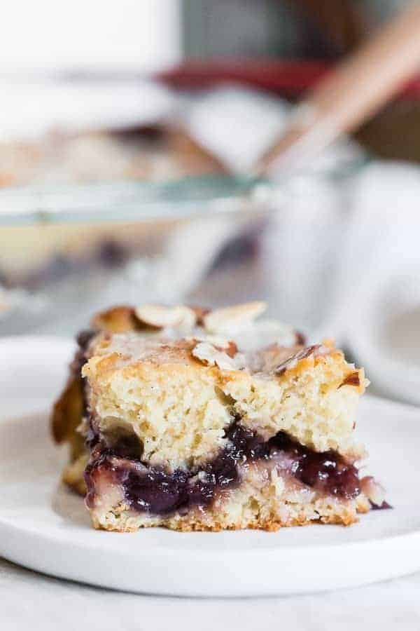 Cherry fritter cake is packed full of summer flavor. So simple and delicious!