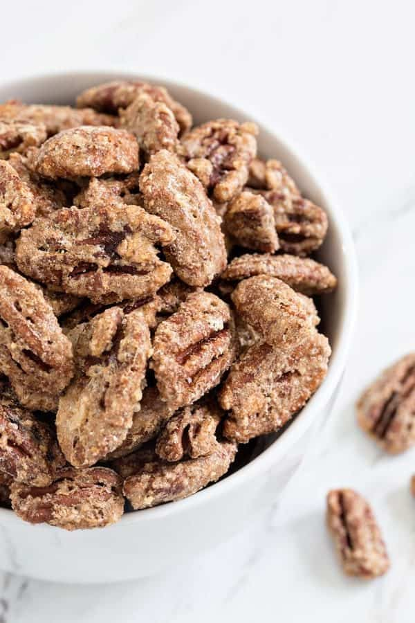 Candied Pecans are sweet, crunchy and totally snack worthy.  Use them to top yogurt, ice cream, salads and so much more!