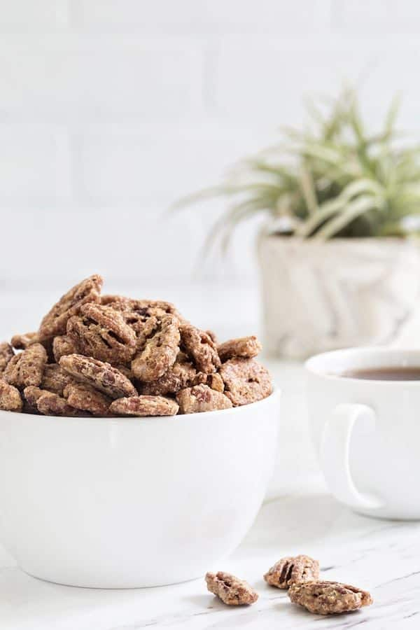 Candied Pecans are sweet, crunchy and totally snack worthy. They're sure to become your new favorite topping for salads, ice cream and so much more!