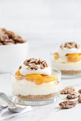 No Bake Peach Cheesecake captures everything there is to love about summer. Sweet peaches, crunchy pecans, and no need to bake a thing!