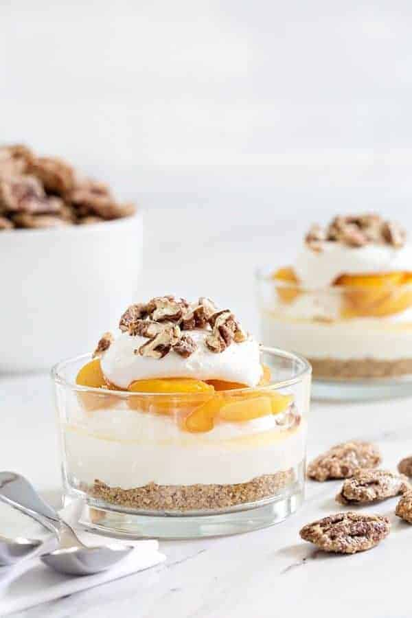 No Bake Peach Cheesecake capture everything there is to love about summer. Sweet peaches, crunchy pecans, and no need to bake a thing!