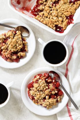 Cherry Crisp is simple, quick, and delicious. Top it with a scoop of vanilla ice cream for the ultimate weeknight dessert.