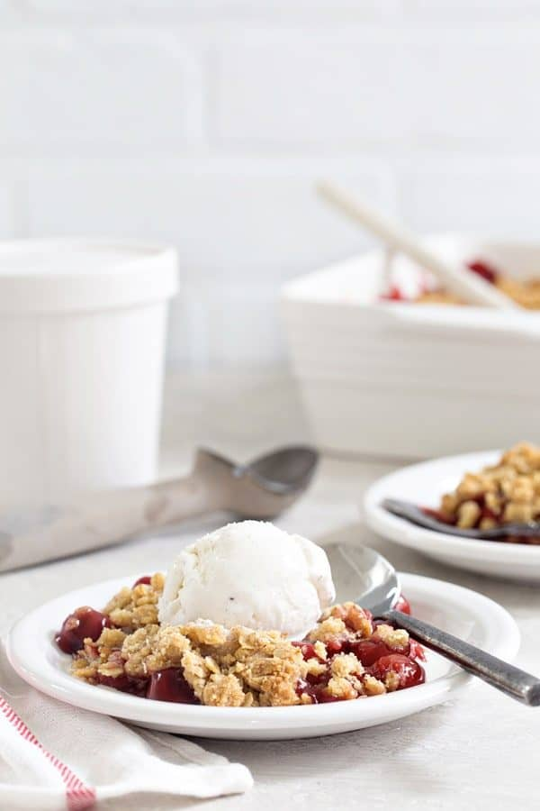 Cherry Crisp is simple, quick, and delicious. Top it with a scoop of vanilla ice cream for weeknight dessert perfection.